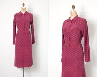 o n l a y a w a y...vintage 1980s print dress / graphic geometric 80s silk dress / small medium s m