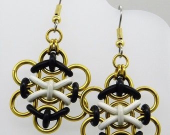 Cell Earrings, black and white and gold, rubber earring, chromosome earring, round earring, biology earring, chainmaille earring