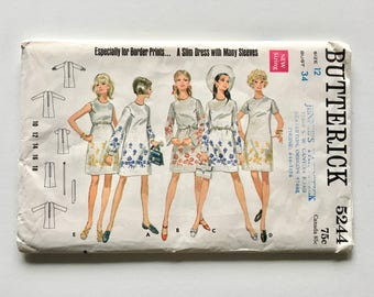 Vintage Sewing Pattern Women's 60's Uncut, Butterick 5244, One Piece Dress (S)