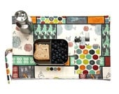 Zen placemat for her in organic cotton with cutlery pocket in red, orange, grey and green. Xmas gift for her.