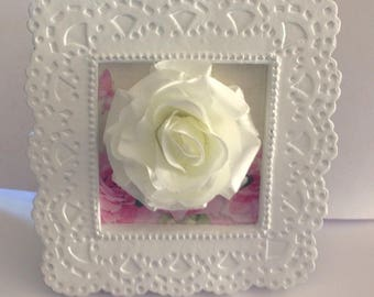 Shabby Chic Romantic White Rose Picture,White Rose Frame