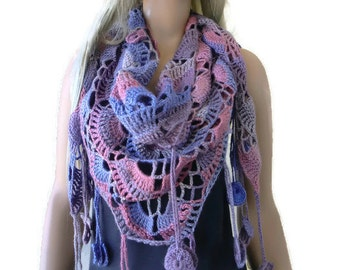 Serenity Bohemian crochet scarf- Subdued pink, lavender and beiges-multicolor Crochet lace scarf with fringes-Silk and mohair-Handmade