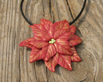 Red Poinsettia Pendant on Black Cord Necklace - Bronze Accents - Floral Jewelry - Silver Plated Findings - December Birthday Gift