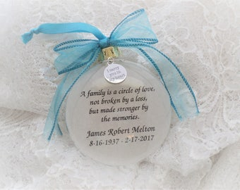 Memorial Ornament, A Family is a Circle of Love, Free Personalization and Charm