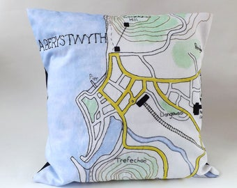 Aberystwyth Ceredigion, Mid Wales Coastal Town Map Printed and Embroidered Cushion Cover with Navy Backing Fabric 40 x 40cm