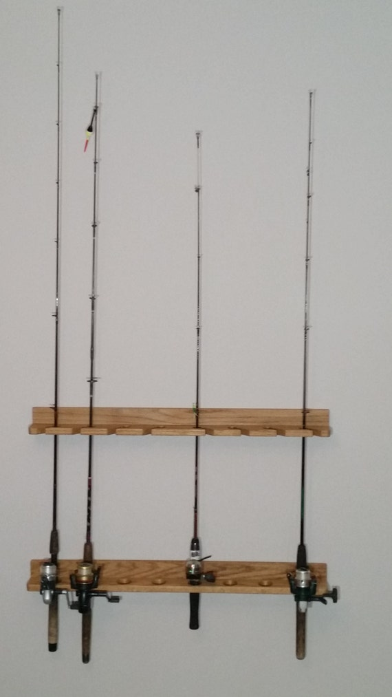 Solid oak wooden fishing rod rack for Wooden fishing pole holder