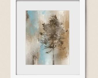 16 x 20 Print, Brown and Blue Wall Art Tree Print, Tree Art Print, Bedroom Wall Decor, Tan and Brown Tree Wall Art (52)