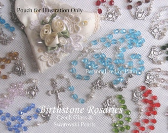 Birthstone Rosaries - Personalized or Plain Heirloom Birthstone Rosary-Baptism, First Communion, Other