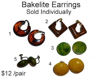 Vintage Bakelite Earrings. Sold Individually.