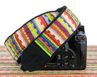 dSLR Camera Strap, SLR, Southwestern, Nikon, Canon, Mirrorless, Sony, Camera Neck Strap, Accessories, Stripe 086