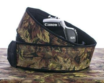 Camera Strap dSLR, Camo, Camera Neck Strap, Camouflage, Canon or Nikon camera strap, Men's camera strap, SLR, 016