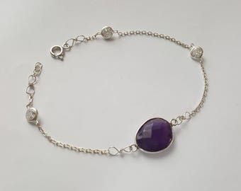 Amethyst Stylish Sterling Silver Bracelet