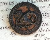 Antique button, dragon button, mythology, vintage antique, metal button, Animal CHARITY DONATION
