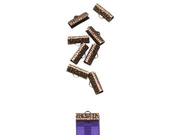 50pcs.  16mm  (5/8 inch)  Gold Ribbon Clamp End Crimps - Artisan Series