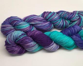 Merino Wool SW Hand dyed DK Weight Aqua, purple, hyacinth