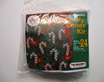 Candy Canes,  Craft Supplies,  Bead Kit,  Beads, Ornament kit, Child Craft, White, Green, Red Beads, Pipe Cleaner