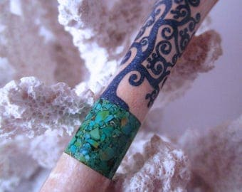 """The """"Princess Eve"""" Tree of Life Hair Stick Featuring Birdseye Maple inlaid with Green Turquoise and Lapis"""