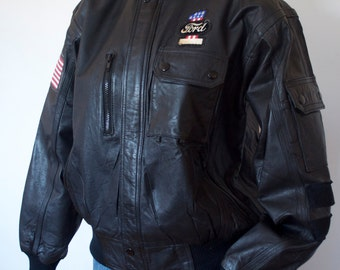 Ford USA Star Gear Black Leather Motorcycle Jacket