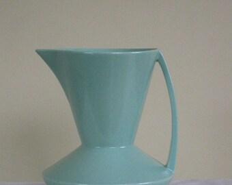 Vintage Mikasa Kent Pitcher / Vase, Mid Century Modern Turquoise Aqua Green Semi Porcelain England