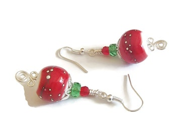 Christmas Lampwork Earrings Holiday Earrings Red and Green Festive Holiday Earrings H14