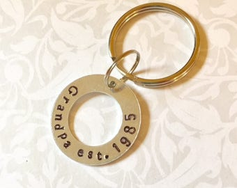 Grandpa Grandfather Father's Day Hand Stamped Personalized Silver Keychain