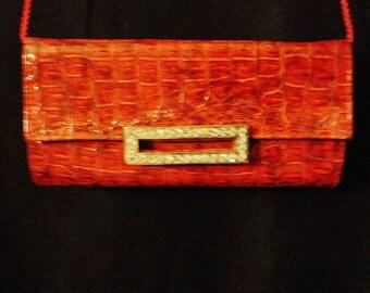 Red Clutch Purse Shoulder Bag Faux Alligator Rhinestones Sophisticated Glam