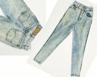 Vintage Denim Jeans High Waisted Jeans Distressed & Faded Acid Wash Jeans Bugle Boy Jeans Slim Fit 80s Mom Jeans Taper Jeans 25 Waist XS