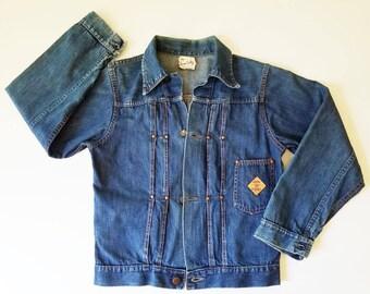 1940s Vintage Denim Jean Jacket GENE AUTRY Denim Jacket Womens Ranchwear Jean Jacket 40s Vintage Denim Jacket Wood of Texas Denim XS / S