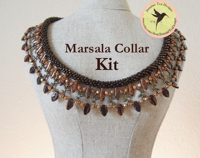 Marsala an Embellished Beaded Kumihimo Collar Kit, Free Canvas Tote, Complete With Tutorial