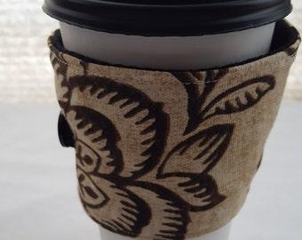 Reusable Coffee Cozie Sleeve Cream with Brown Flowers