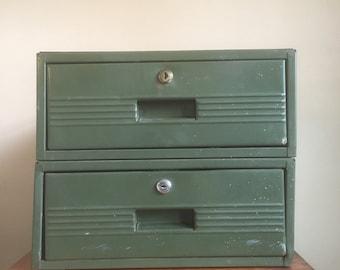 Vintage Industrial Mint Green Metal Drawer.