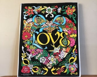 Vintage 1980s LOVE Velvet Poster by Fuzzy Posters. Western Graphics Corp. Made in USA.