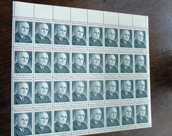1973 Harry S. Truman Stamps - 8 Cent US Postage Stamp - Sheet of 32 President Truman Unused Vintage Postage Stamps