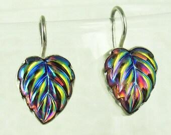 Purple Leaf Earrings Sterling Silver Art Deco Lalique Inspired Vintage Glass Earrings 304