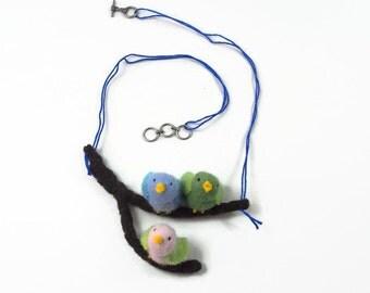 bird necklace, fabric necklace, fibre art necklace, bird jewelry,waldorf necklace, stuffed toy, waldorf toy, stuffed animal,