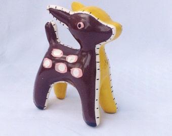Vintage brown, pink, and yellow patchwork deer figurine. Ceramic. Knick knack.