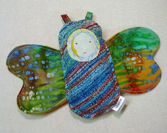 Moth Rattle - Butterfly Toy - Baby Travel Toy - Stroller Toy - Wrap Scrap Keepsake - Insect Rattle - Lovie Toy