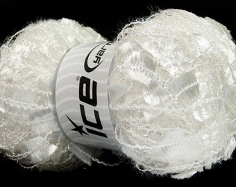 ANGELO ice yarns WHITE metallic sparkly shimmering  7mm US 10 polyamide bulky chunky  100gr 41291