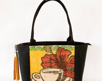 Recycled Coffee Bag - Hawaii Hibiscus Flower - zip top closure