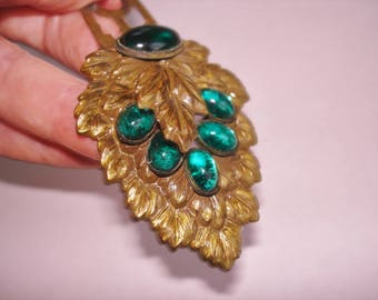 Flower Emerald Green Rhinestones Large  Fur Clip