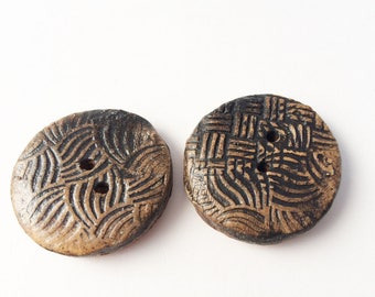 """Handmade Pottery Button, Stoneware Pottery Button, 1 1/4"""" Black  Patterned, Large 2 hole button"""