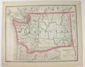 Vintage Oregon Map Washington Territory Map 1885 Cram Map Antique Map Oregon Washington Map, OR Map WA, Pacific Northwest, Housewarming Gift
