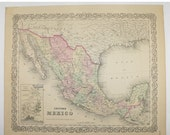 Vintage Mexico Map 1881 Colton Map, Yucatan Belize Map, Lower California Map, Man Cave Decor Gift for Guy, Antique Art Gift for Parents