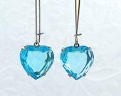50% off SALE Blue Heart Earrings Aqua Rhinestone Earrings Heart Drop Earrings Valentine Gift Something Blue - Blue Valentine