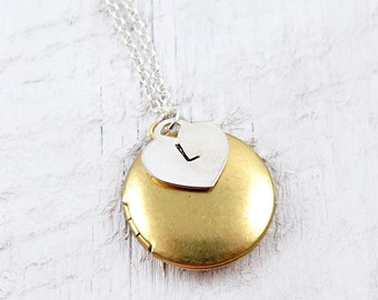 Personalized Locket Necklace, Bridesmaid Jewelry, Personalized Gift, Personalized Heart Necklace, Initial Jewelry