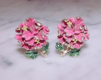 REDUCED Vintage Adolph Katz Coro Hibiscus Earrings Enameled Earrings