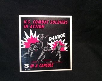 U.S. Combat Soldiers in Action Vending Machine Card/Sticker - 1960s
