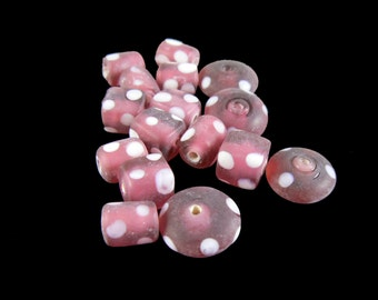 White polka dot matte pink glass bead mix of squares, tubes, coin, rectangles, barrels, 16 pcs. Fun, flirty, spring, dots, vintage look, 50s