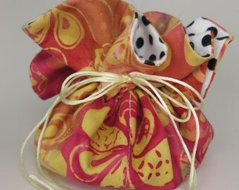 Travel Jewelry Pouch Organizer with Drawstrings in Floral Batik Print