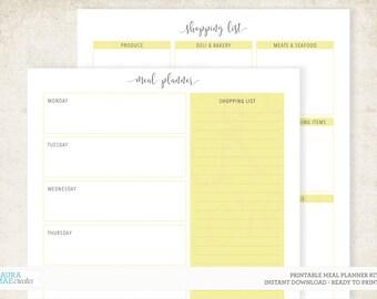 Yellow Meal Planner + Grocery List Kit Printable